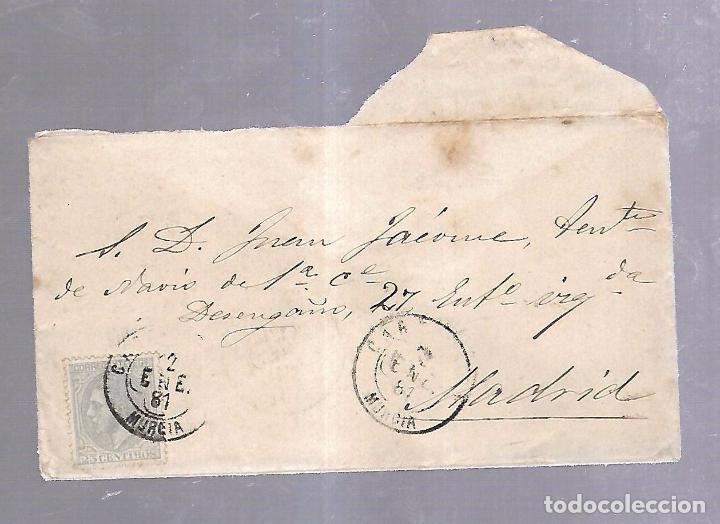 CARTA. DE CARTAGENA A MADRID. 1881. VER SELLO (Sellos - España - Amadeo I y Primera República (1.870 a 1.874) - Cartas)