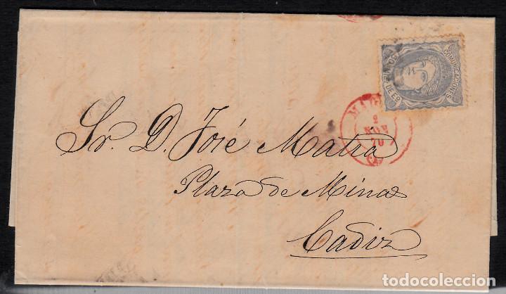 CARTA ENTERA CON NUM. 107 DE MADRID(1870) A CÁDIZ ----FECHADOR ROJO----- (Sellos - España - Amadeo I y Primera República (1.870 a 1.874) - Cartas)