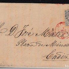 Sellos: CARTA ENTERA CON NUM. 107 DE MADRID(1870) A CÁDIZ ----FECHADOR ROJO-----. Lote 101190643