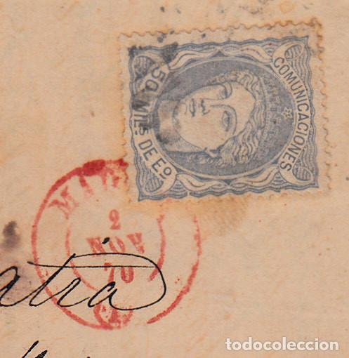 Sellos: CARTA ENTERA CON NUM. 107 DE MADRID(1870) A CÁDIZ ----FECHADOR ROJO----- - Foto 2 - 101190643