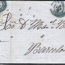 Sellos: CARTA ENTERA CON NUM.107 PURXET Y TRESSERRA EN VINAROZ -CASTELLÓN. (1870) FECHADOR AZUL. Lote 101194927