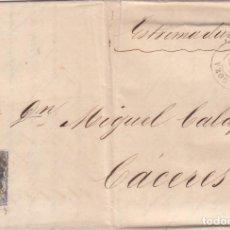 Sellos: CARTA: 1871 ZARAGOZA - CACERES. Lote 101626811