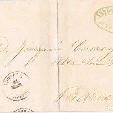 Sellos: 0397. CARTA CIMPLETA DE LUTO TORTOSA (TARRAGONA) 1873. AMADEO. Lote 101763863