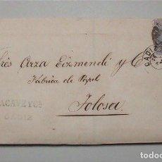 Sellos: ENVUELTA CARTA DE CÁDIZ A TOLOSA (GUIPÚZCOA) ENVIADA POR LAS BODEGAS LACAVE Y CÍA. AÑO 1871. Lote 102074623