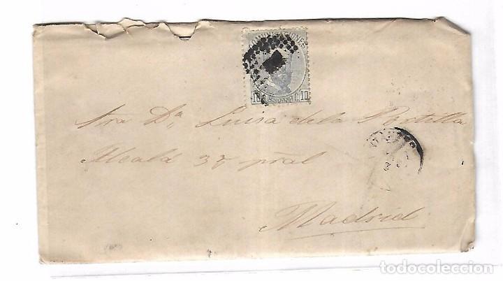 SOBRE CON CARTA. DE SANTANDER A MADRID. 1873 (Sellos - España - Amadeo I y Primera República (1.870 a 1.874) - Cartas)