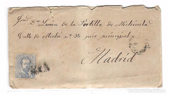 SOBRE CON CARTA. DE SAN CLEMENTE A MADRID. 1873 (Sellos - España - Amadeo I y Primera República (1.870 a 1.874) - Cartas)