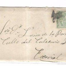 Sellos: SOBRE CON CARTA. DE MADRID A EL ESCORIAL. 1873. Lote 102913479