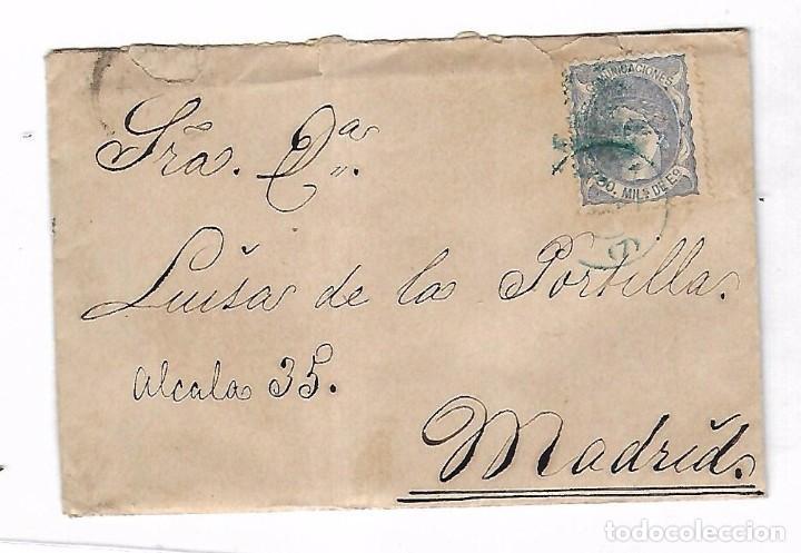 SOBRE CON CARTA. DE SEVILLA A MADRID. 1872 (Sellos - España - Amadeo I y Primera República (1.870 a 1.874) - Cartas)