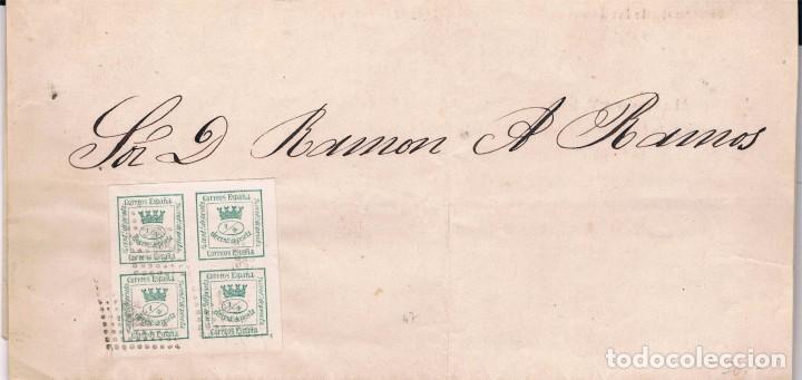 ESPAÑA. SELLO DE 4/4 SOBRE ENVUELTA CON MATASELLO ROMBO DE PUNTOS (Sellos - España - Amadeo I y Primera República (1.870 a 1.874) - Cartas)
