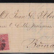 Sellos: CARTA COMPLETA -1878- DOBLE MATASELLOS ESTRELLA DE REUS O FLOR DE 8 PÉTALOS Y MATASELLOS DE TREBOL.. Lote 110134219
