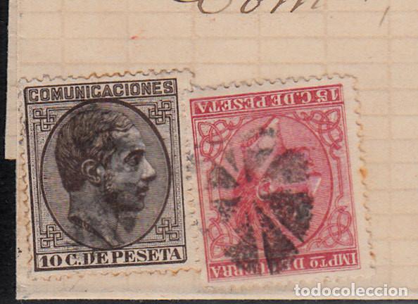 Sellos: CARTA COMPLETA -1878- DOBLE MATASELLOS ESTRELLA DE REUS O FLOR DE 8 PÉTALOS Y MATASELLOS DE TREBOL. - Foto 2 - 110134219