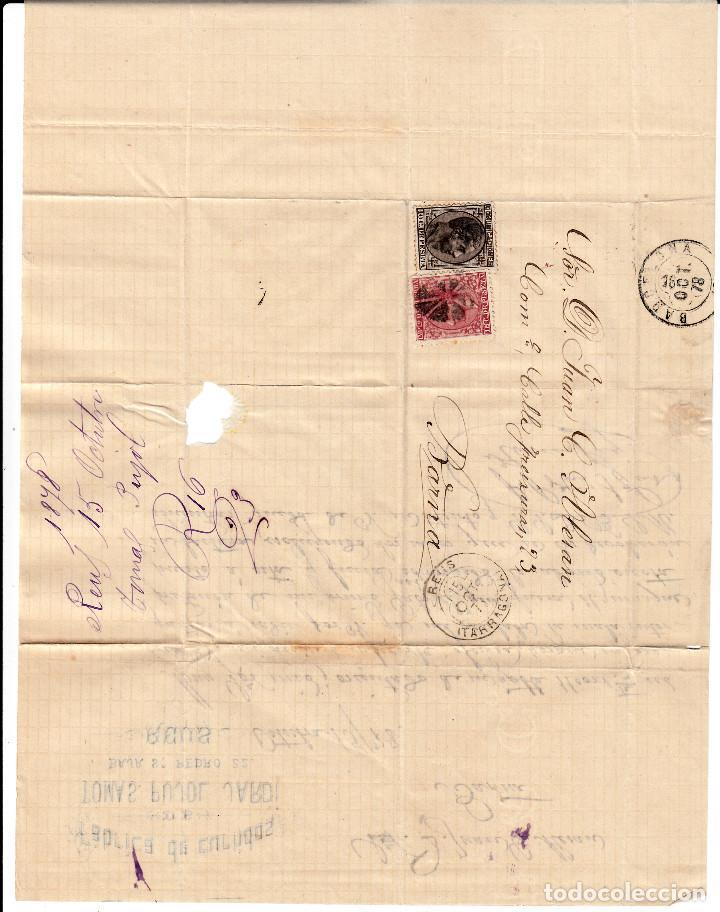 Sellos: CARTA COMPLETA -1878- DOBLE MATASELLOS ESTRELLA DE REUS O FLOR DE 8 PÉTALOS Y MATASELLOS DE TREBOL. - Foto 3 - 110134219