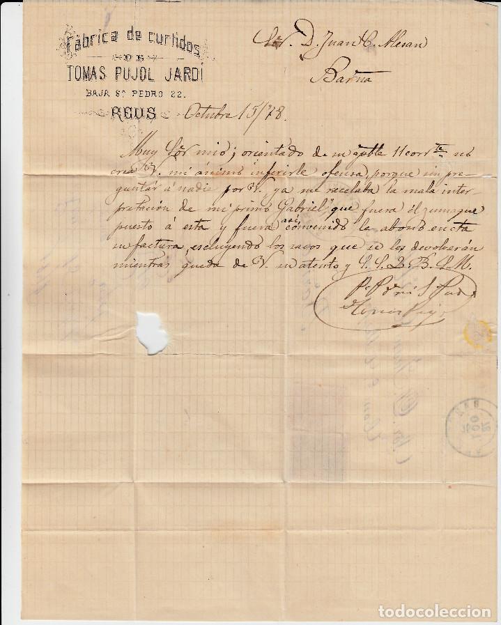 Sellos: CARTA COMPLETA -1878- DOBLE MATASELLOS ESTRELLA DE REUS O FLOR DE 8 PÉTALOS Y MATASELLOS DE TREBOL. - Foto 4 - 110134219