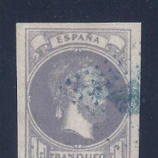 Sellos: EDIFIL 158 CARLOS VII 1874. MATASELLO ROMBO DE PUNTOS EN AZUL. MARQUILLADO AL DORSO. LUJO.. Lote 112236467