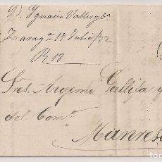 Sellos: AÑO 1872 CARTA COMPLETA DE ZARAGOZA A MANRESA. Lote 113703375