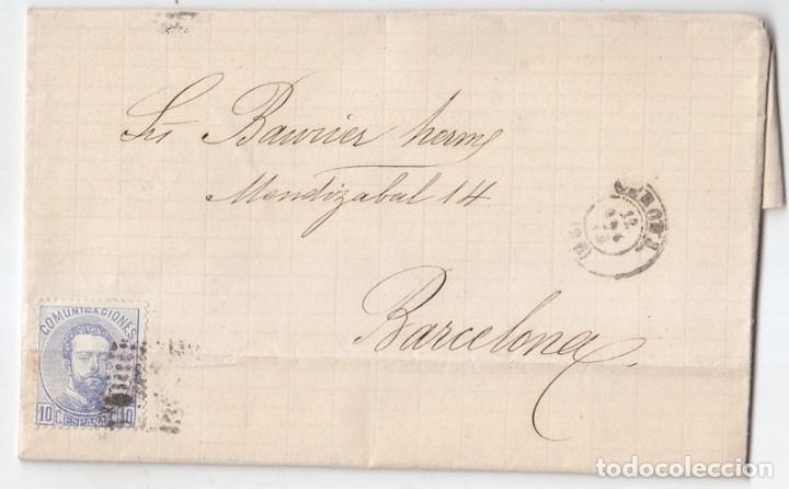 CARTA ENTERA DE GERONA. GIRONA A BARCELONA. FECHADOR. 1873 (Sellos - España - Amadeo I y Primera República (1.870 a 1.874) - Cartas)