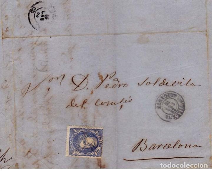 VILLENA 1870 - PRIMERA REPÚBLICA ESPAÑOLA SELLO 107 AZUL FECHADOR TIPO II - CARTA COMERCIAL ..VER... (Sellos - España - Amadeo I y Primera República (1.870 a 1.874) - Cartas)