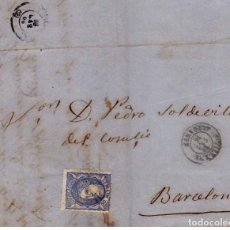 Sellos: VILLENA 1870 - PRIMERA REPÚBLICA ESPAÑOLA SELLO 107 AZUL FECHADOR TIPO II - CARTA COMERCIAL ..VER.... Lote 114701215