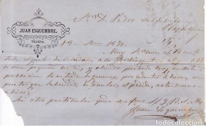 Sellos: VILLENA 1870 - PRIMERA REPÚBLICA ESPAÑOLA SELLO 107 AZUL FECHADOR TIPO II - CARTA COMERCIAL ..VER... - Foto 2 - 114701215