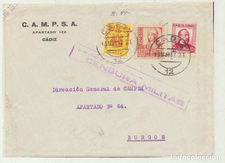 CARTA CON MEMBRETE DE CÁDIZ A BURGOS DEL 13 MAY. 1937. CON E- (Sellos - España - Amadeo I y Primera República (1.870 a 1.874) - Cartas)