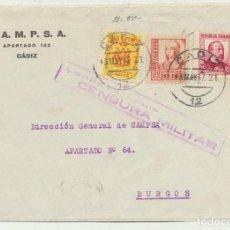 Sellos: CARTA CON MEMBRETE DE CÁDIZ A BURGOS DEL 13 MAY. 1937. CON E-. Lote 116323976