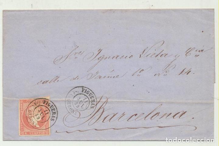 CARTA DE FIGUERAS A BARCELONA DEL 11 JUL. 1859. CON EDIFIL 48, MATA- (Sellos - España - Amadeo I y Primera República (1.870 a 1.874) - Cartas)