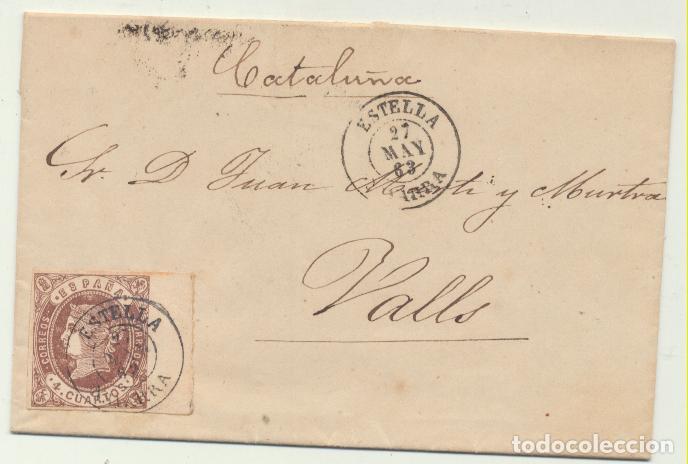 CARTA DE ESTELLA A VALLS DEL 27 MAY 1863. CON EDIFIL 58, MATASELLA- (Sellos - España - Amadeo I y Primera República (1.870 a 1.874) - Cartas)