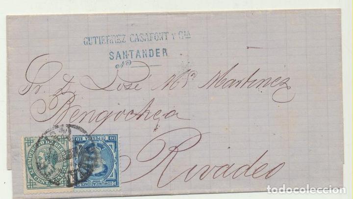 CARTA DE SANTANDER A RIVADEO DEL 24 DIC. 1876. CON EDIFIL 175 Y - (Sellos - España - Amadeo I y Primera República (1.870 a 1.874) - Cartas)