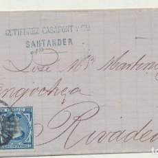 Selos: CARTA DE SANTANDER A RIVADEO DEL 24 DIC. 1876. CON EDIFIL 175 Y -. Lote 116324000