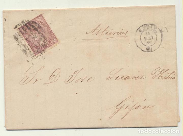 CARTA DE CADIZ A GIJÓN DEL 11 MAY. 1869. CON EDIFIL 98, MATASELLA- (Sellos - España - Amadeo I y Primera República (1.870 a 1.874) - Cartas)
