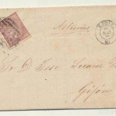 Sellos: CARTA DE CADIZ A GIJÓN DEL 11 MAY. 1869. CON EDIFIL 98, MATASELLA-. Lote 116324004