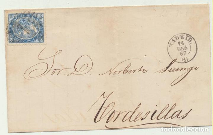 CARTA DE MADRID A TORDESILLAS DEL 14 MAR. 1867. CON EDIFIL 88, MA- (Sellos - España - Amadeo I y Primera República (1.870 a 1.874) - Cartas)