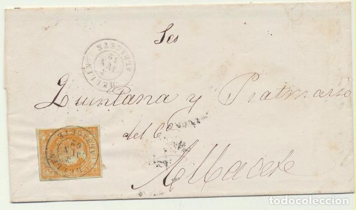 CARTA DE HELLÍN A ALBACETE DEL 3 JUN. 1862. CON EDIFIL 52, MATASELLA (Sellos - España - Amadeo I y Primera República (1.870 a 1.874) - Cartas)