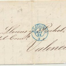 Sellos: CARTA DE BARCELONA A VALENCIA DEL 2 MAY. 1856. CON EDIFIL 48, MA-. Lote 116324020