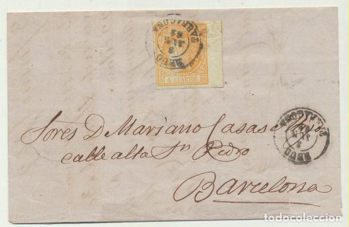 CARTA DE REUS A BARCELONA DEL 3 JUN. 1862. CON EDIFIL 52. DOBLE MA- (Sellos - España - Amadeo I y Primera República (1.870 a 1.874) - Cartas)