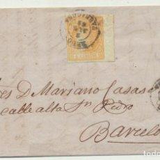 Sellos: CARTA DE REUS A BARCELONA DEL 3 JUN. 1862. CON EDIFIL 52. DOBLE MA-. Lote 116324036