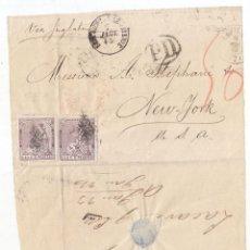 Sellos: RARO FRONTAL CON PAPEL AL DORSO DE SEVILLA. A ESTADOS UNIDOS. 1873. PAREJA 40 CÉNTIMOS ALEGORÍA. Lote 116532067