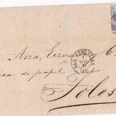 Sellos: CM2-31-ENVUELTA SAN SEBASTIÁN- TOLOSA 1870, DORSO MARCA TIPO SORTIJA. Lote 118387659