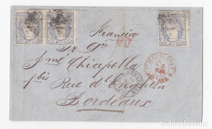 ENVUELTA DE SAN SEBASTIÁN. GUIPÚZCOA. PAÍS VASCO. A FRANCIA. TRIPLE PORTE MATRONA. 1870 (Sellos - España - Amadeo I y Primera República (1.870 a 1.874) - Cartas)