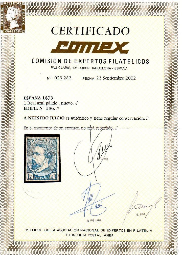 Sellos: AÑO 1873. EDIFIL 156 NUEVO.CORREO CARLISTA.CERTIFICADO COMEX.VC 795 EUROS - Foto 2 - 120991115