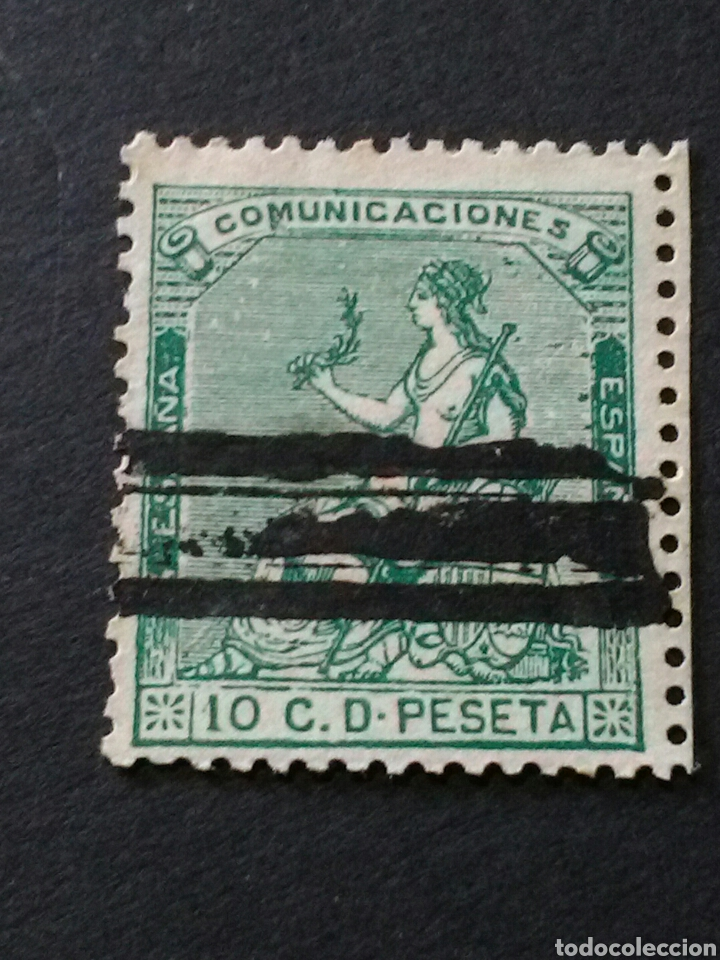 1873.1 DE JUL. ALEGORÍA DE ESPAÑA. 10 CTS. BARRADO. (Sellos - España - Amadeo I y Primera República (1.870 a 1.874) - Usados)