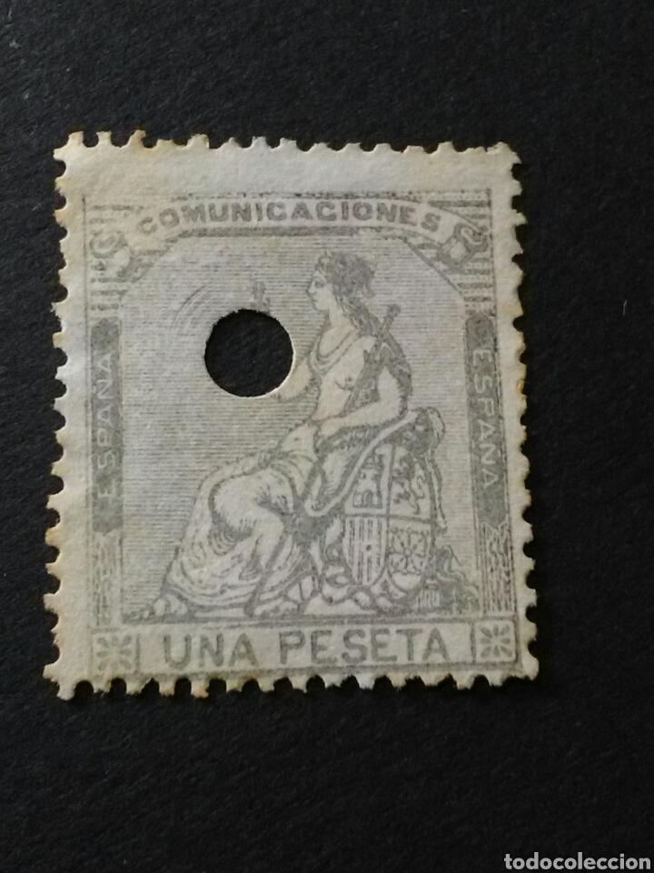 1873. ALEGORÍA DE ESPAÑA. 1 PTA. PERFORADO TELÉGRAFOS. (Sellos - España - Amadeo I y Primera República (1.870 a 1.874) - Usados)