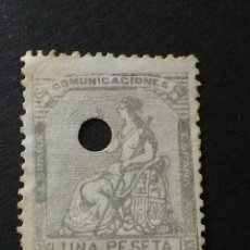 Sellos: 1873. ALEGORÍA DE ESPAÑA. 1 PTA. PERFORADO TELÉGRAFOS.. Lote 123037246