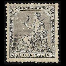 Selos: SELLOS. ESPAÑA. I REPÚBLICA. 1873 CORONA Y ALEGORÍA. 20C NEGRO GRISACEO. MATASELLO. EDIF. Nº 134. Lote 126660383