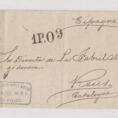 Sellos: CARTA ENTERA DE ESMIRNA. TURQUÍA A REUS. TARRAGONA. CATALUÑA. RARÍSIMO ORÍGEN. 1873. Lote 128975175