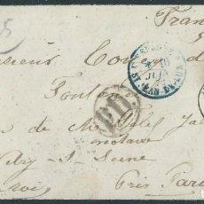 Sellos: SOBRE DE LUTO DE 1872 DE MADRID A FRANCIA CON MATASELLOS PARRILLA CON CIFRA Nº 1.. Lote 131513394