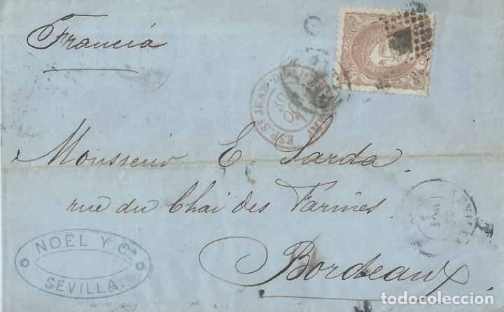 ENVUELTA DE 1871 DE SEVILLA A BURDEOS (FRANCIA) CON MATASELLOS ROMBO DE PUNTOS. (Sellos - España - Amadeo I y Primera República (1.870 a 1.874) - Cartas)