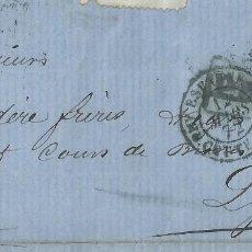 Sellos: ENVUELTA DE 1872 DE BARCELONA A LYON (FRANCIA) CON MATASELLOS ROMBO DE PUNTOS.. Lote 131514702