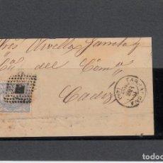 Sellos: FRONTAL CON SELLO NUM 107 DE TARRAGONA A CÁDIZ - 1870 - MATASELLOS ROMBO DE PUNTOS . Lote 136267962