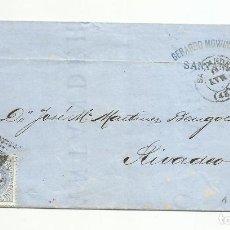 Sellos: ENVUELTA CIRCULADA 1873 DE SANTANDER A RIVADEO LUGO CON FECHADOR LLEGADA. Lote 137144658